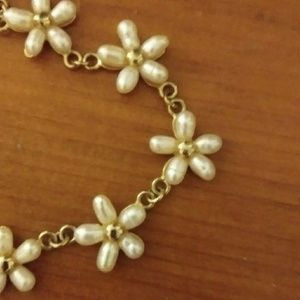 Jewelry - Gold tone Freshwater Pearl Flower Choker Necklace